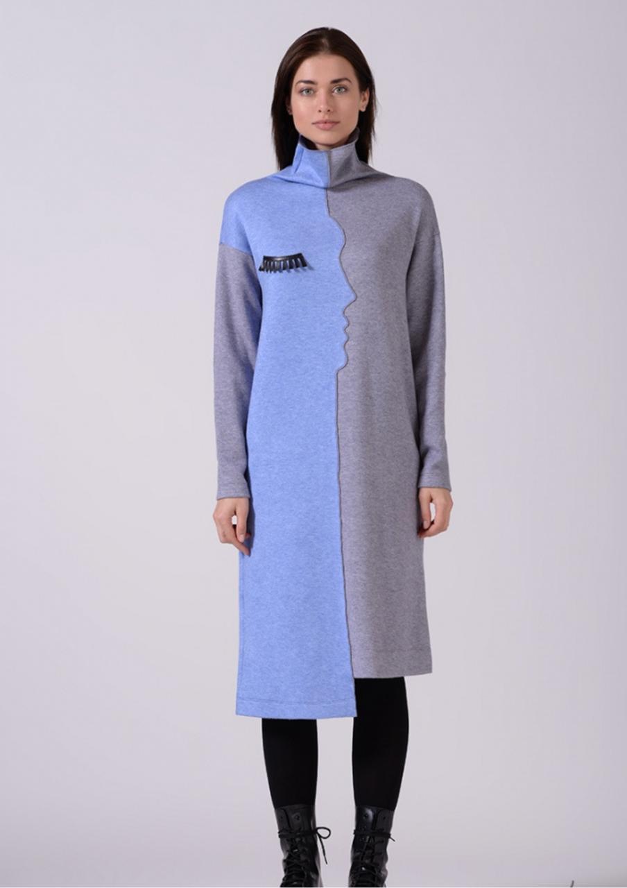 Тепле шерстяне асиметричне плаття з ангори сіро блакитне Lesya Тефи 12