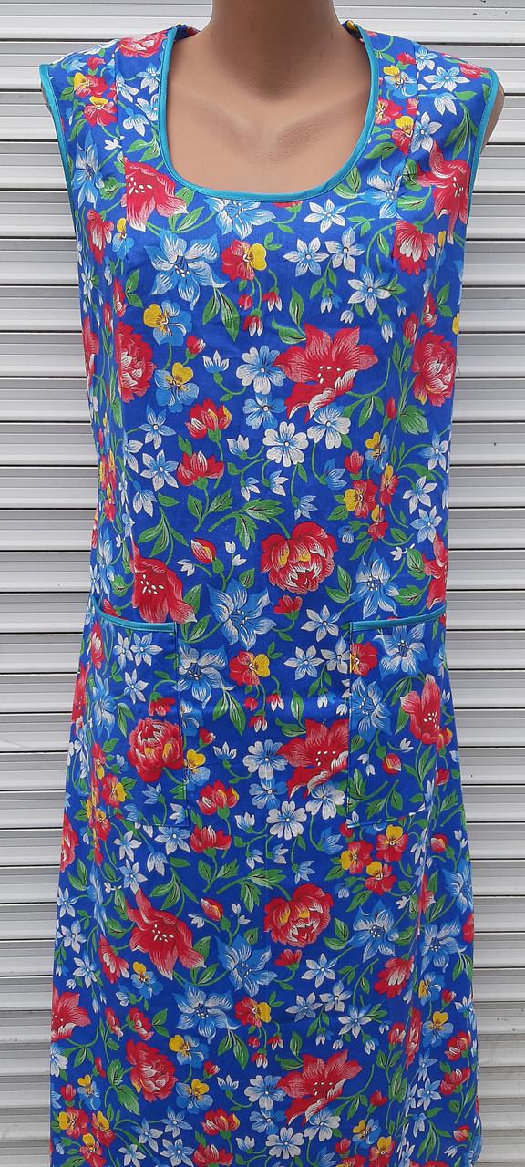 Платье без рукава 56 размер Анютки на синем