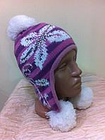 шапка ушанка для  девочки вязанная двойная с рисунком ,с камнями,с помпонами