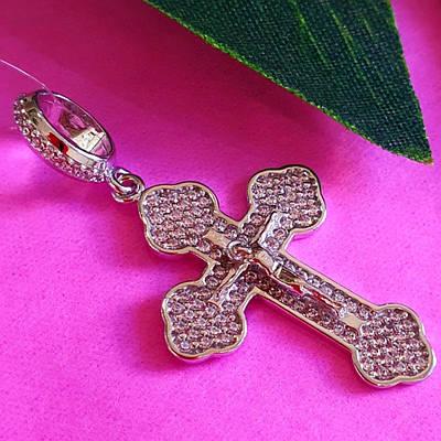 Серебряный женский крестик с фианитами - Крестик серебряный родированный