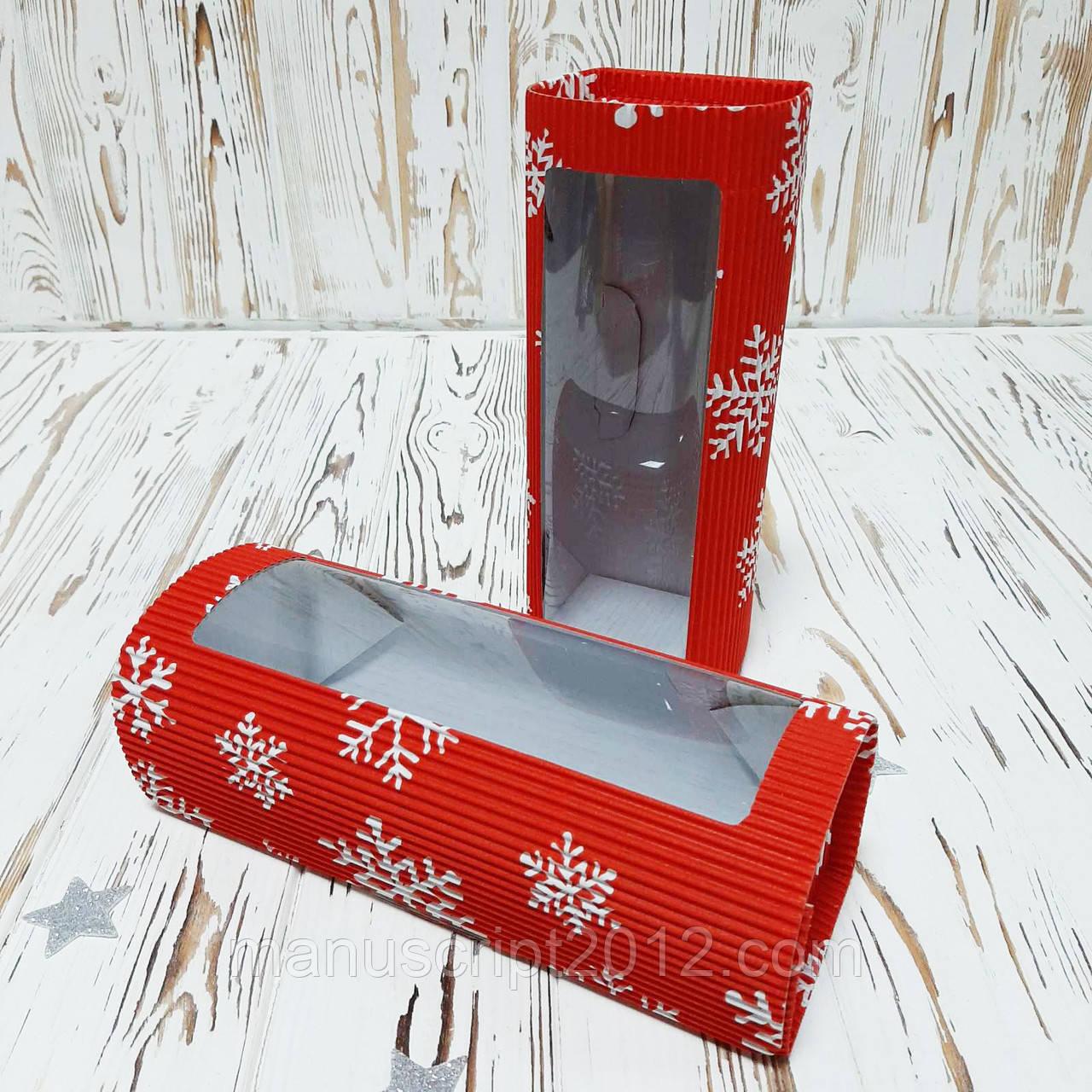 Коробка «Сундук» з вікном 220х80х80 мм. новорічна