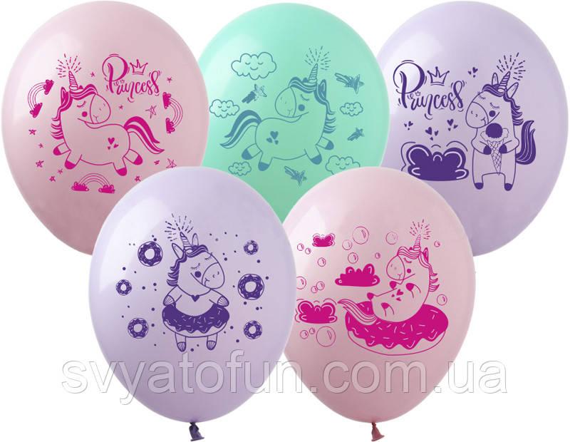 Латексные воздушные шарики Единорожки Princess 20шт/уп ЕД-6 ArtShow