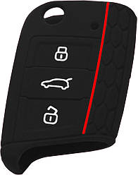 Чехол для автомобильного ключа Volkswagen New, Skoda, Seat - Black