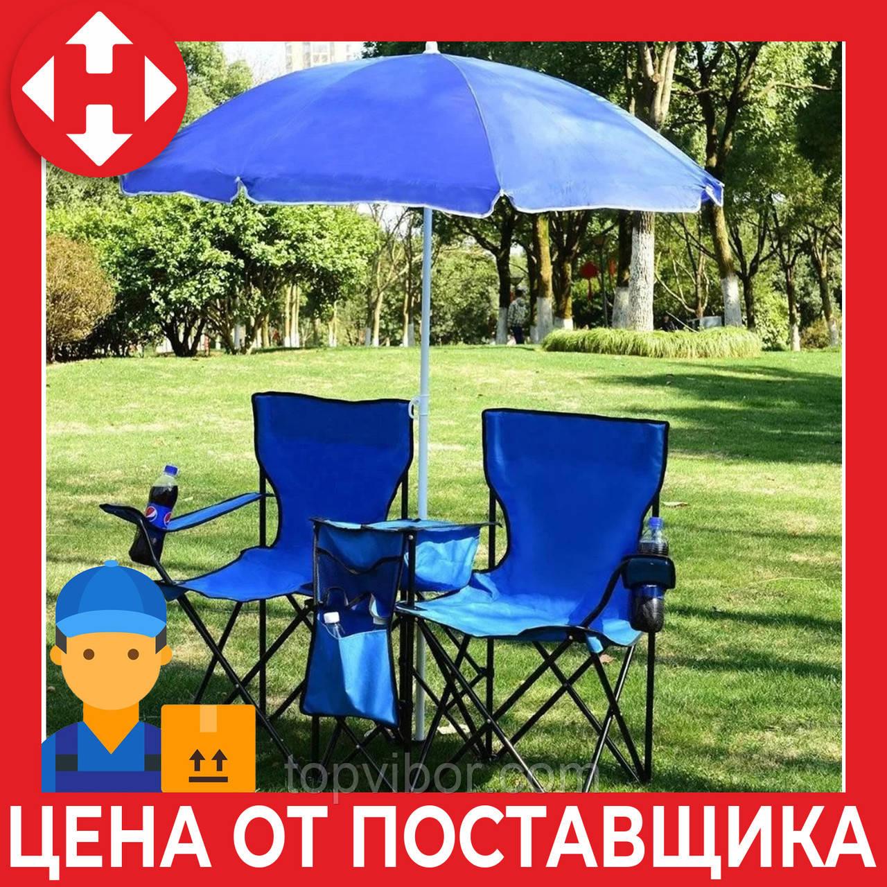 Большой пляжный садовый зонтик от солнца с наклоном синий, 1.6 м (пляжна парасолька) с доставкой
