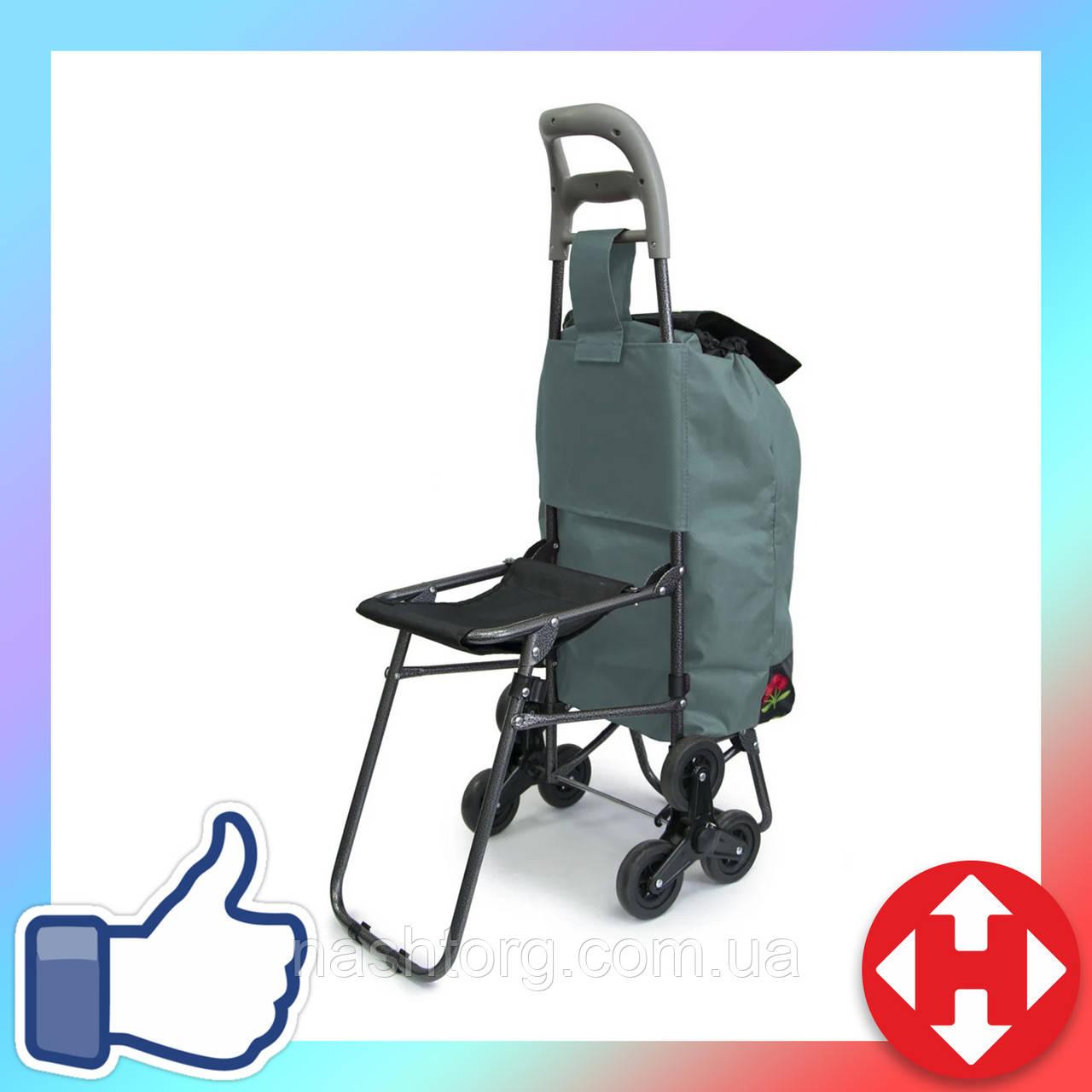 Хозяйственная тележка для продуктов - ручная тачка на колесиках, Цвет №22 кравчучка с сумкой