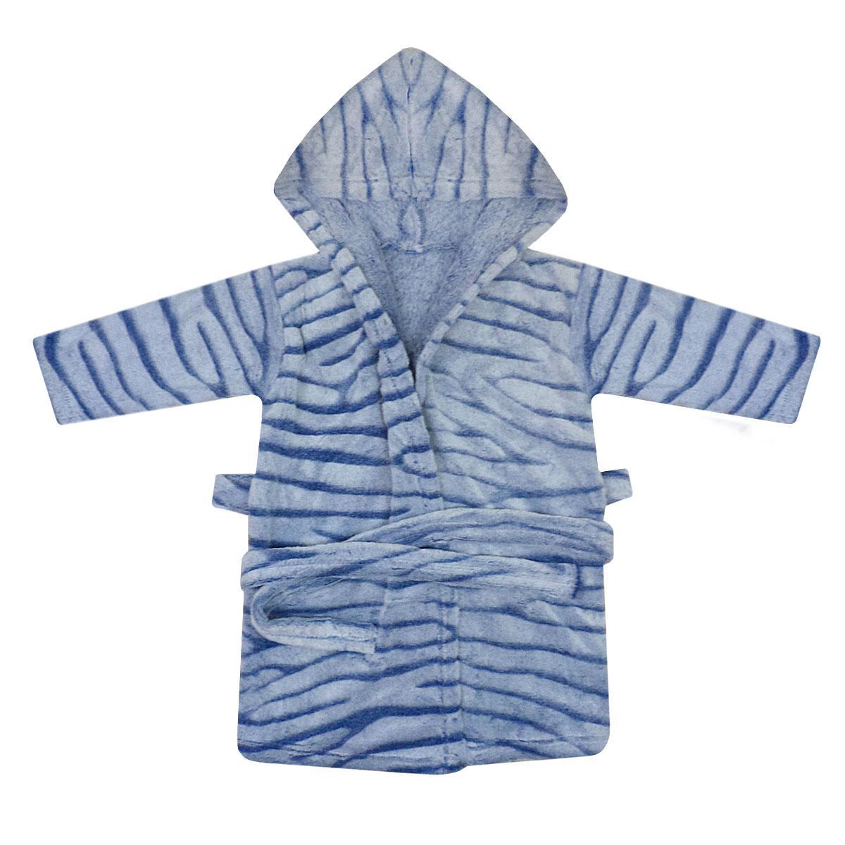 Синий махровый детский халат 1-6 лет велсофт