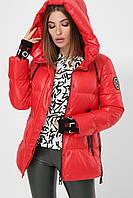 Женская зимняя короткая красная куртка 8290