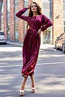 Шикарное вечернее платье миди шёлковое винного цвета