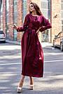 Шикарное вечернее платье миди шёлковое винного цвета, фото 2
