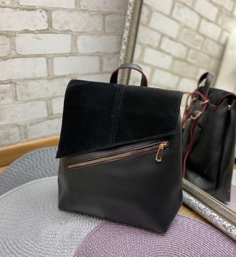 Рюкзак женский черный брендовый молодежный городской натуральная замша+кожзам
