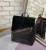 Рюкзак женский черный брендовый молодежный городской натуральная замша+кожзам, фото 1