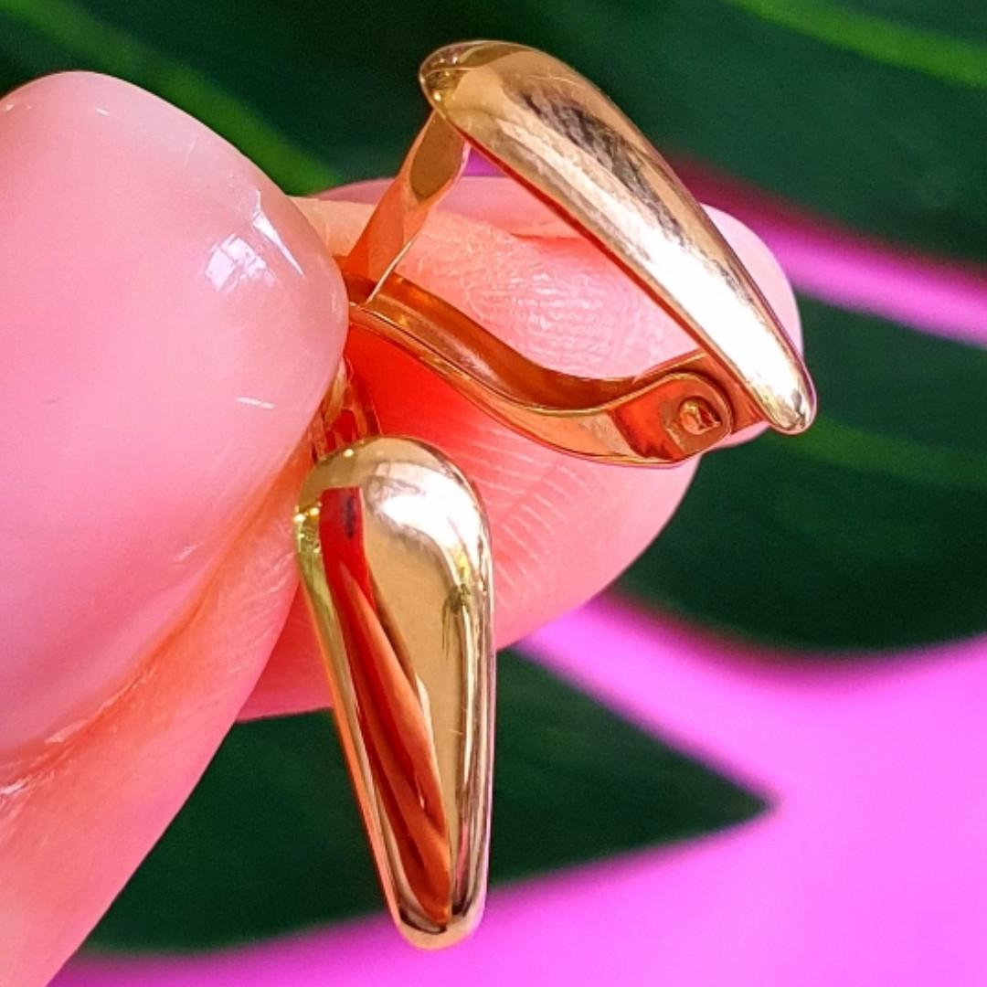 Нежные золотые серьги без камней - Золотые серьги хаги - Гладкие золотые серьги