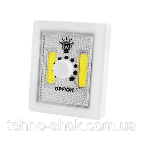 Подсветка универсальная в виде выключателя 1702A-2COB, dimmer, магнит, липучки, 3хAAA ночник