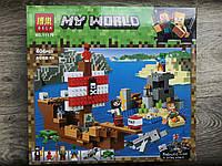 Конструктор Minecraft Майнкрафт Приключения на пиратском корабле , 404 деталей, 6 фигурки ,BELA 11170