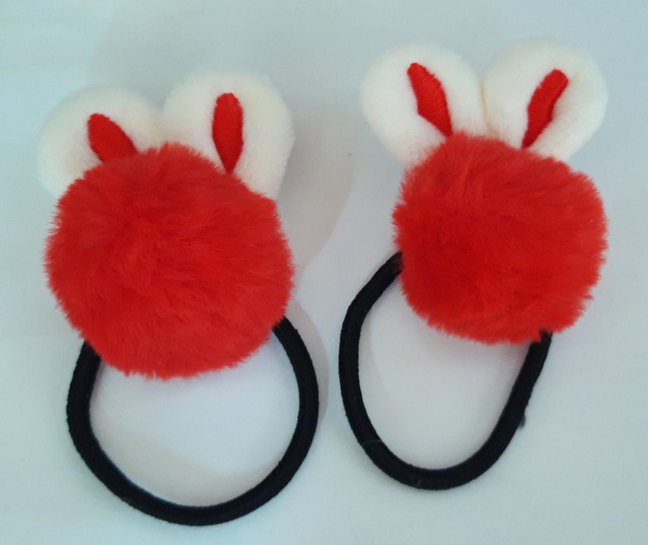 Детские резинки для волос пушистые 2 шт, красный