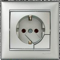 Розетка с з/к с системой выталкивания Valena 770194 алюминий
