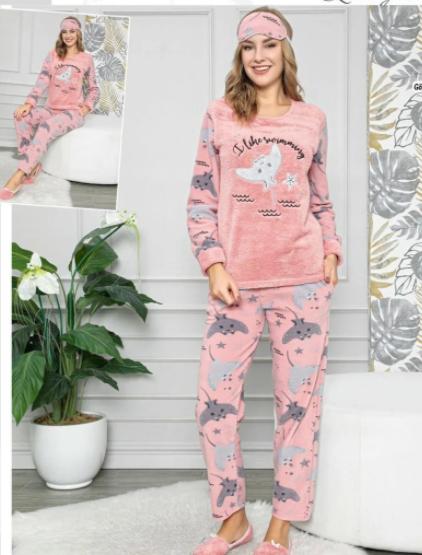 Женская  теплая пижама с повязкой Sea depths