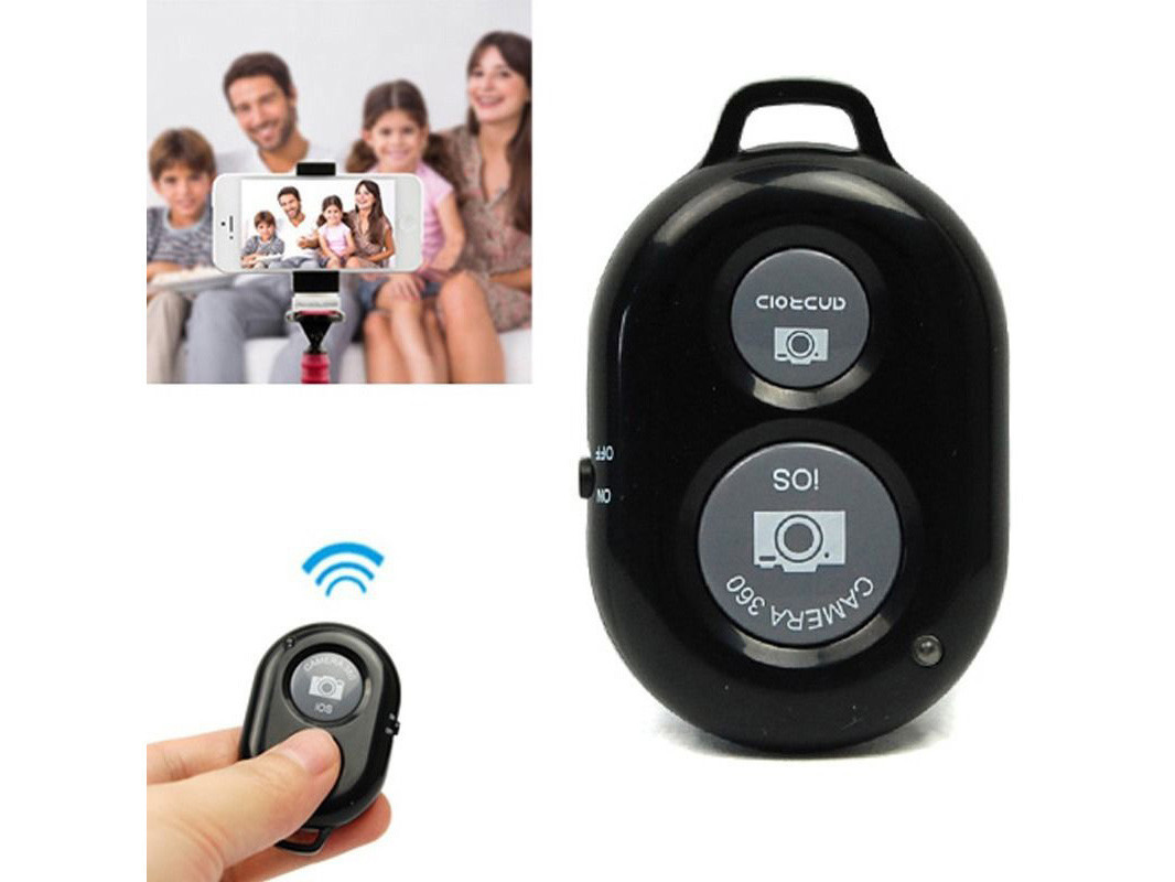 Bluetooth пульт для селфи, блютуз пульт для монопода / смартфона черный УЦЕНКА
