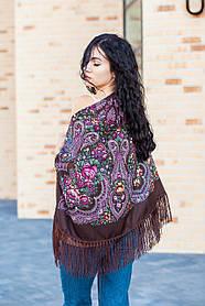 Большой женский платок шерстяной с бахромой в цветах и узорах LEONORA коричневого цвета