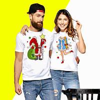 Парні футболки з новорічним принтом (малюнком)