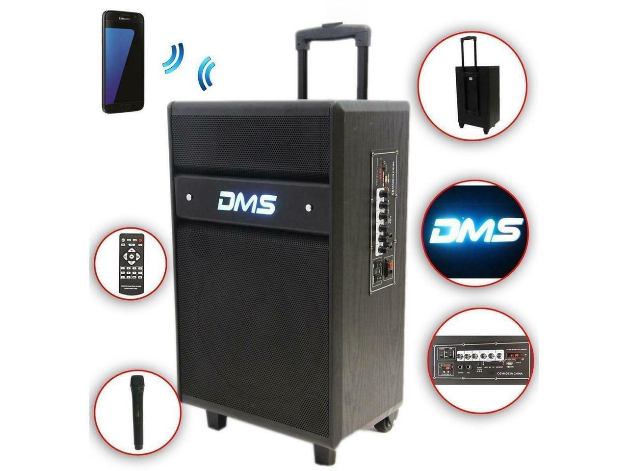 Акустична система Колонка акумуляторна DMS K10-12MS Bluetooth, USB, MP3, Wireless LED