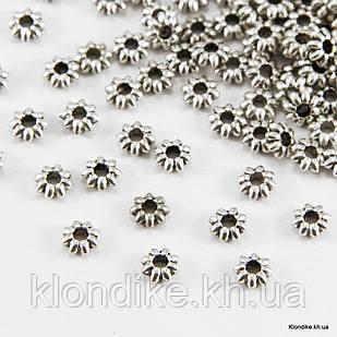 Бусины-Разделители, Цветок, Сплав, 5.5×1.5 мм, Цвет: Серебро (~80 шт.)