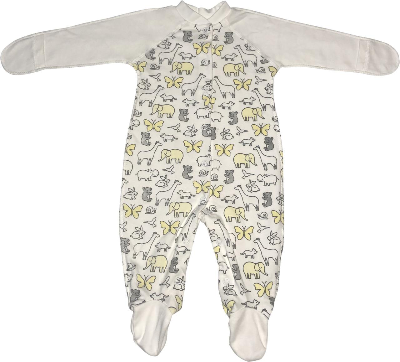 Дитячий теплий чоловічок з начосом зростання 56 0-2 міс трикотажний інтерлок молочний на хлопчика дівчинку