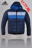 Зимняя мужская куртка Adidas (Адидас) (1306-4), куртки мужские, спортивная мужская куртка,Темно синий,Голубой