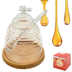 Банка для меда с ложкой на бамбуковой подставке 10*13см, R30171