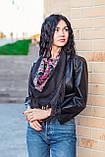 Народный чёрный шерстяной платок женский красивый на голову и плечи LEONORA с бахромой, фото 2