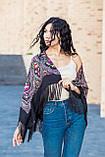 Народный чёрный шерстяной платок женский красивый на голову и плечи LEONORA с бахромой, фото 5