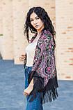 Народный чёрный шерстяной платок женский красивый на голову и плечи LEONORA с бахромой, фото 6
