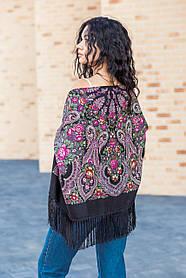 Народный чёрный шерстяной платок LEONORA 130*130см.