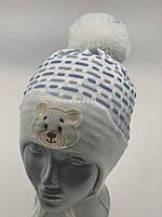 ОПТ, Шапочка для хлопчика «Ведмедик», на флісі, фото 1