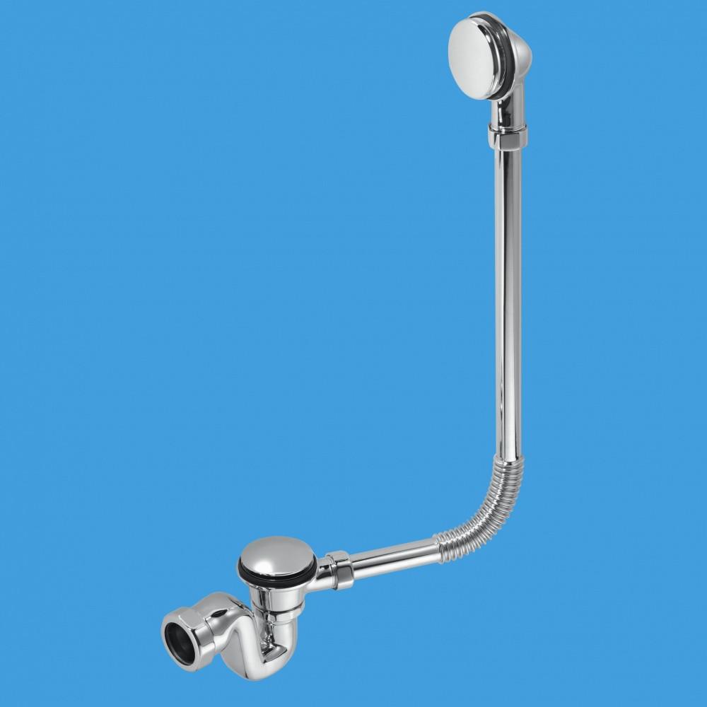 Сифон внешний декоративный для ванн ТМ McAlpine BRASSTRAP-50-CP слив/перелив