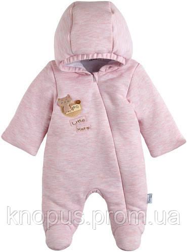 Велюровый утепленный  интерлок,  для девочки, розовый меланж,   Гарден беби, размеры 56 - 68