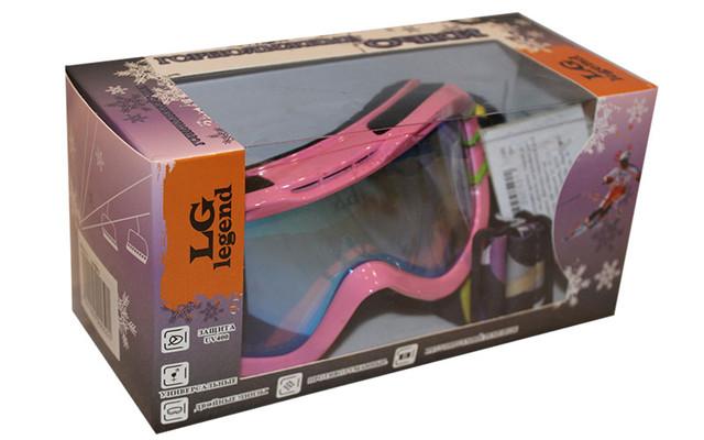 Очки горнолыжные детские LG7040 (акрил,пластик,PL,двойные линзы,антифог,цвет линз-оранж,опр.бел-жел)