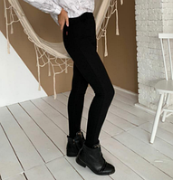 Джеггинсы молодёжные чёрного цвета из джинсовой ткани