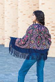 Платок женский красивый стильный шерстяной на плечи LEONORA с бахромой темно - синего цвета