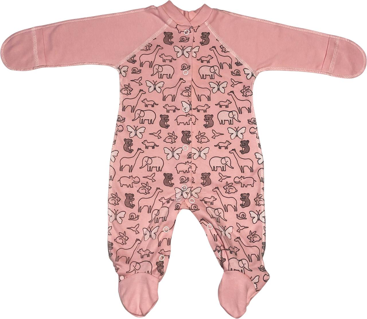 Детский тёплый человечек с начёсом рост 56 0-2 мес трикотажный интерлок розовый на девочку слип с закрытыми ручками для новорожденных малышей Р066