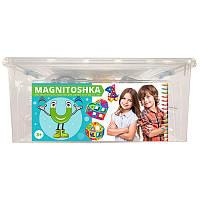 Магнитный конструктор Magnitoshka 180 деталей (большой размер деталей, 178 магнитных и 2 колёсные базы)