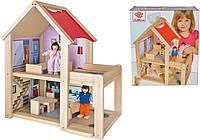 Дом для кукол двухэтажный Eichhorn с 2 куклами и аксессуарами (100002501)