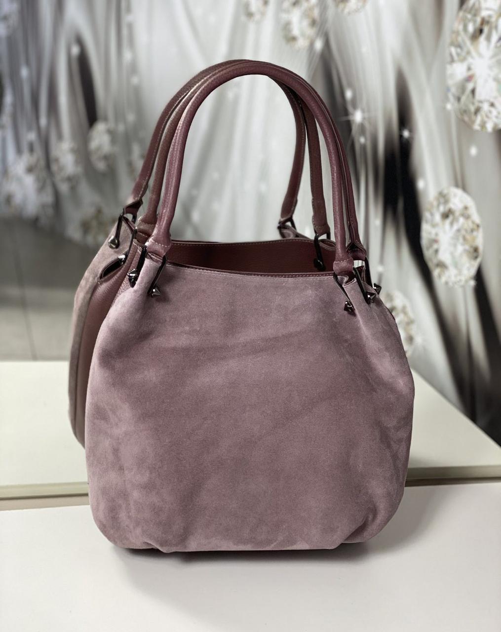 Большая замшевая женская сумка-мешок на плечо стильная молодежная темная пудра натуральная замша+кожзам