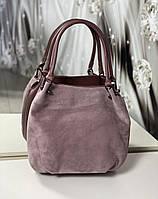 Большая замшевая женская сумка-мешок на плечо стильная молодежная темная пудра натуральная замша+кожзам, фото 1