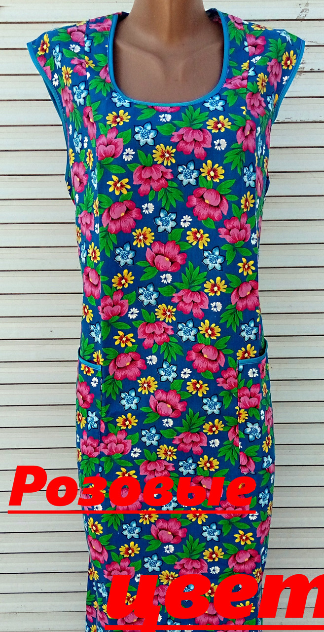 Платье без рукава 60 размер Розовые цветы