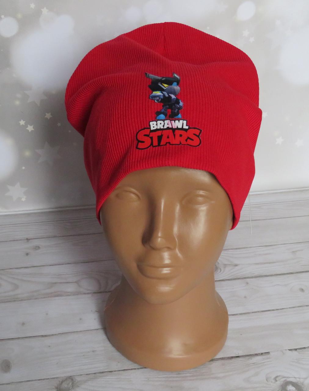 Детская трикотажная шапка Brawl Stars рубчик, Ворон меха красная
