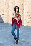 Платок женский красивый шерстяной на плечи народный с орнаментом бордового цвета, фото 3