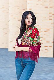 Платок женский красивый шерстяной на плечи народный с орнаментом бордового цвета