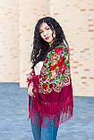 Платок женский красивый шерстяной на плечи народный с орнаментом бордового цвета, фото 4