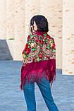 Платок женский красивый шерстяной на плечи народный с орнаментом бордового цвета, фото 5